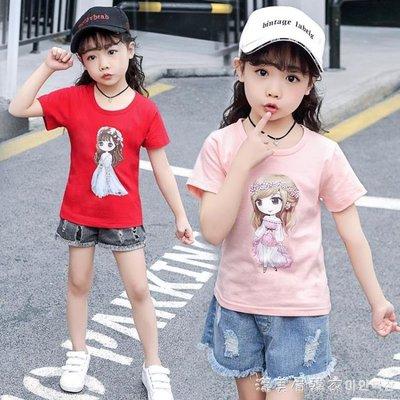 女童短袖t恤純棉夏季半袖中大童洋氣體恤上衣兒童女夏裝2019新款