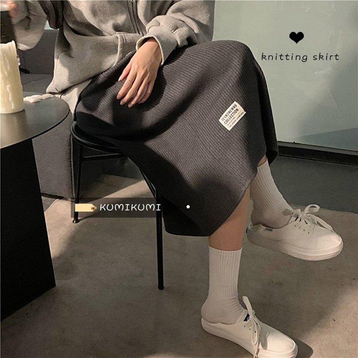 Maisobo 韓 秋冬 氣質標籤貼布條針織長裙 2色 TO2-1015 預購