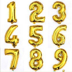 發光派對屋(西門中華店)@數字鋁箔氣球(金色單顆價)數字氣球