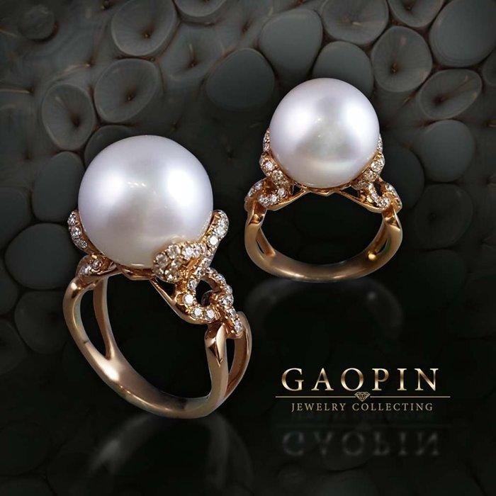 【高品珠寶】12.7mm南洋珍珠戒指 女戒 18K #2960