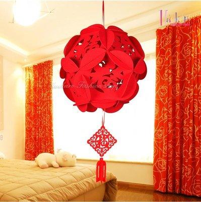 ☆[Hankaro]☆春節系列商品不織布圓型繡球鏤空掛飾(大號尺寸)