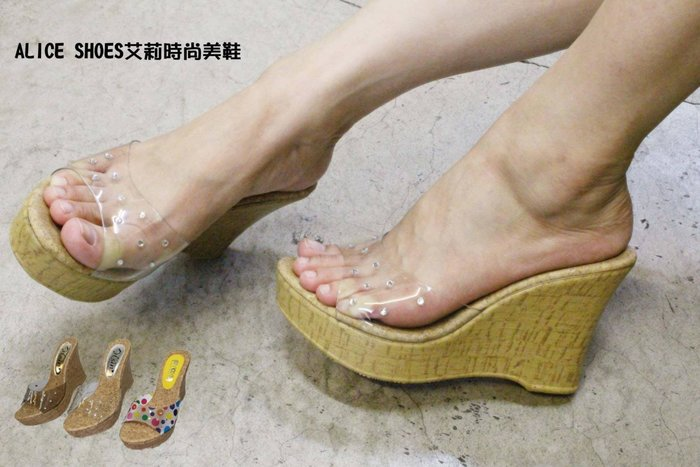 ALICE SHOES艾莉易購 經典基本款素面透明水鑽楔型厚底拖鞋 @118@
