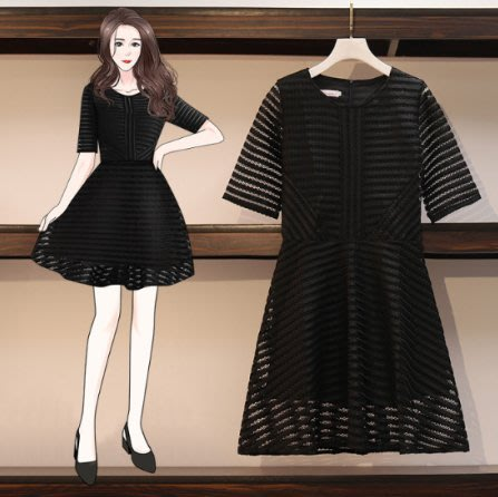 中大尺碼洋裝 連身裙M-4XL韓國 鏤空裙 黑色洋氣春裝連衣裙3F121.8013