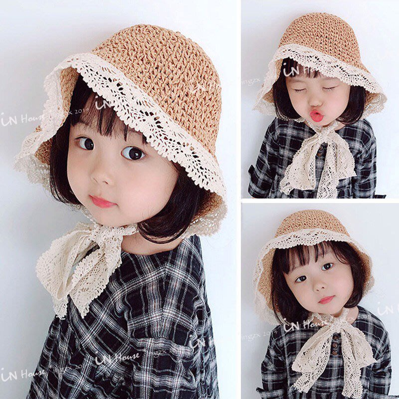 IN House*🇹🇼現貨🌞日韓 🌞兒童 復古 防曬 蕾絲 草帽 漁夫帽 小童 編織 外出 遮陽帽 帽子