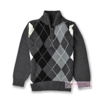 。2隻兔子優質童裝。美國品牌 男童英倫菱格立領棉線衣 4-8Y (A1225)冬季款