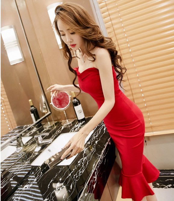 抹胸洋裝 夜場女裝性感夏新款顯瘦抹胸裙網紅裙子氣質有女人味的洋裝