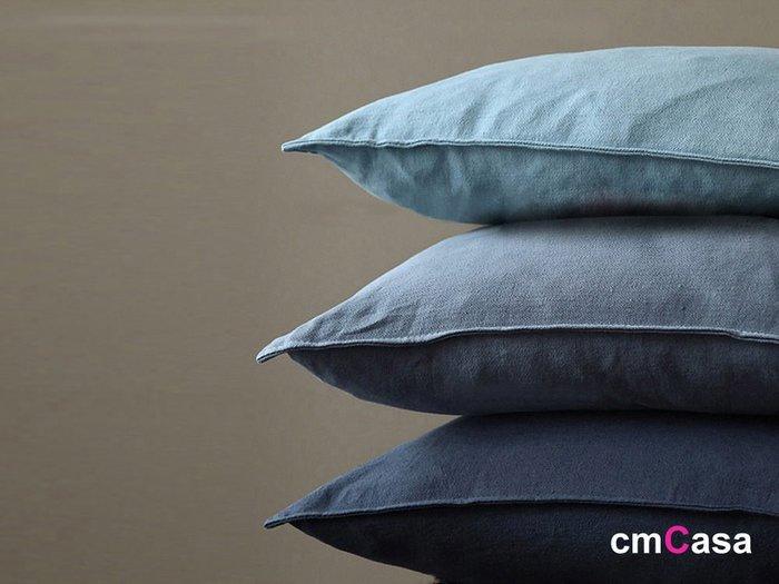 = cmCasa = [4827]北歐美式簡約設計 秋藍滾邊藍色系棉麻抱枕套60x60三色多尺寸新發行
