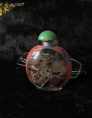 阿牛的店 畫工精美 套料雙龍 清明上河圖 早期鼻煙壺 蓋後配 不含蓋65*61*35mm