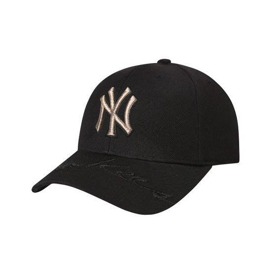 特價【韓Lin連線代購】韓國 MLB -- 金色NY刺繡 帽沿YANKEES刺繡黑色棒球帽 RUNNING CP24