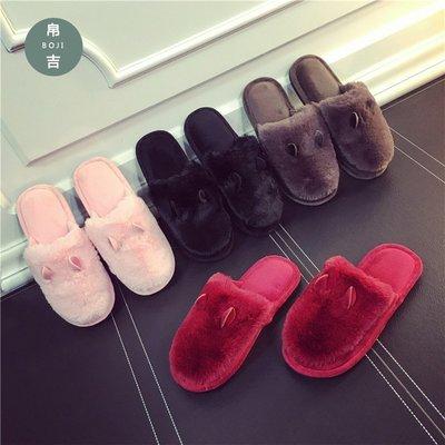 韩版卡通棉拖鞋男新款冬时尚兔子耳朵托鞋情侣家居保暖毛毛拖鞋女