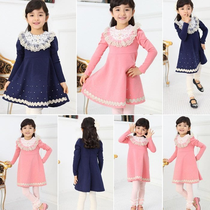 韓版《蕾絲花領款》甜美長袖洋裝 連衣裙 (J3-5)