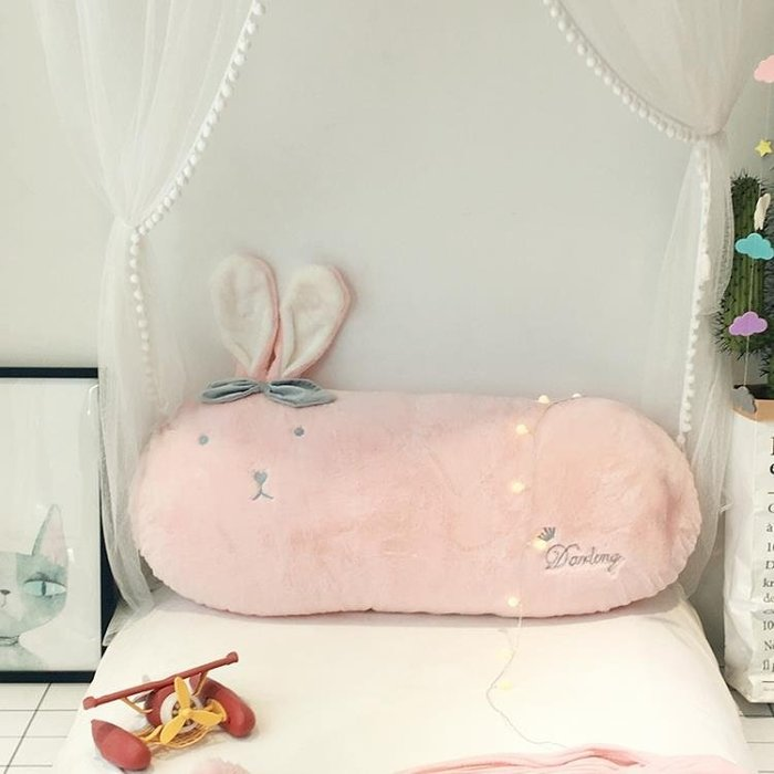 INS床頭靠枕公主風床上用品 沙發靠背小抱枕1.2m長絨可愛靠墊含芯第