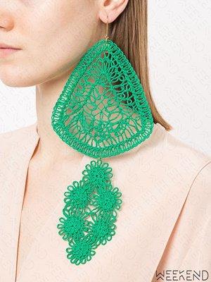 【WEEKEND】 STELLA MCCARTNEY 超大尺寸 針織 圖騰 耳環 單邊 單只 綠色