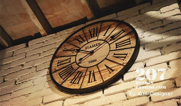 設計師款 時鐘 美式復古風格 進口鐵製大掛鐘 60CM 法式田園懷舊英倫鐵藝 大圓鐘掛鐘壁鐘 裝潢佈置§宥薰設計家