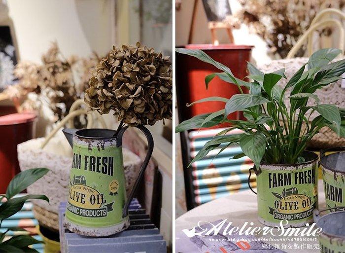 [ Atelier Smile ] 鄉村雜貨 日本直送 復古作舊 橄欖綠 鴨嘴 澆花壺  (現+預)