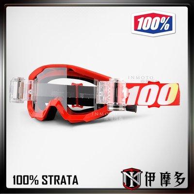 伊摩多※美國100% STRATA MUD Furnace SVS 透片 越野 滑胎 護目鏡 抗風沙 防霧。紅框紅帶