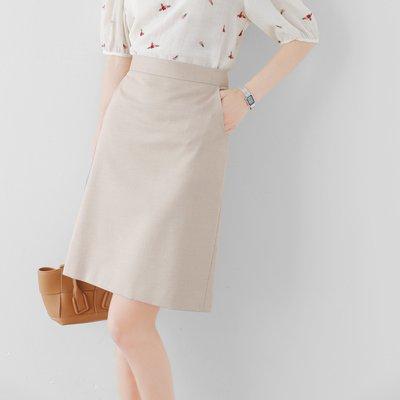 ER 經典百搭 顯瘦A版 氣質色 夾閃亮絲高腰及膝裙 窄裙 半身裙  米色