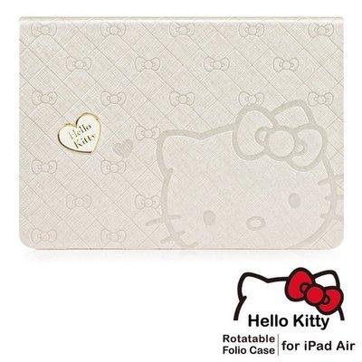 《東京家族》Hello Kitty iPad Air360度旋轉摺疊式皮套–心戀金色
