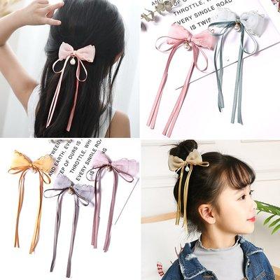 (現貨)韓國兒童超仙蕾絲蝴蝶結飄帶髮夾女童寶寶公主髮夾子小童髮飾(預購)