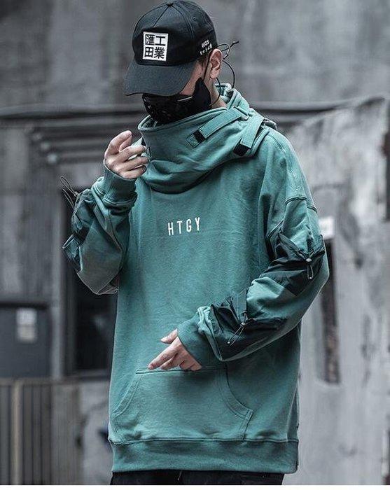 FINDSENSE X 男士魚嘴衛衣男潮牌寬松嘻哈機能工裝連帽外套