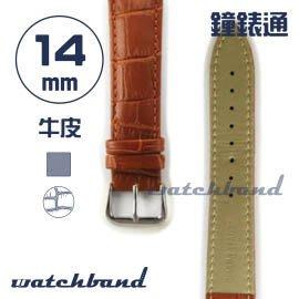 【鐘錶通】C1.21AA《霧面系列》鱷魚格紋-14mm 霧面棕┝手錶錶帶/皮帶/牛皮錶帶┥