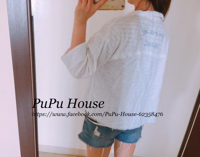 正韓KOREA白色棉麻料刺繡字母外套 《現貨》