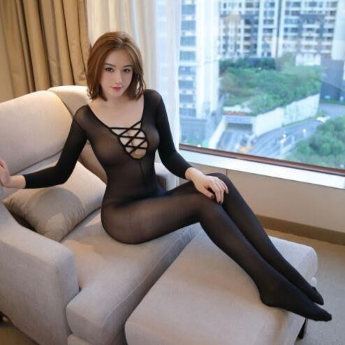 長袖連體絲襪前交叉鏤空情趣內衣連體網衣