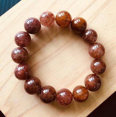 ☆水晶能量☆ 紅銅鈦髮晶 手環/ 手珠/ 手鍊~