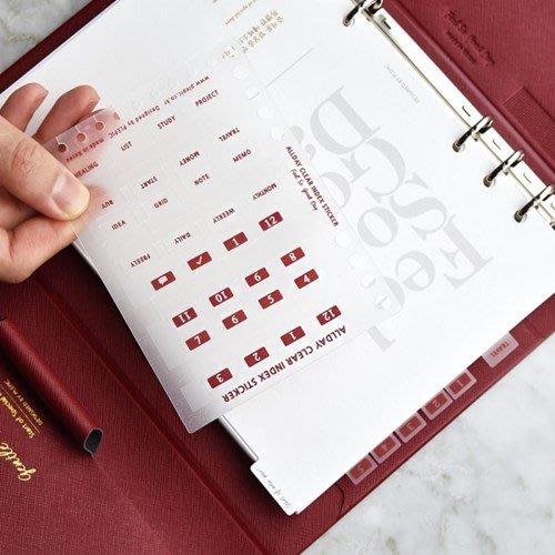 好心情日韓正品雜貨『韓國 PLEPIC』Allday Clear Index Sticker月份索引貼分頁貼(8款)
