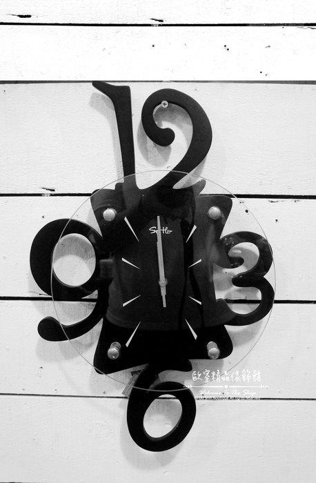 ~*歐室精品傢飾館*~ 現代 簡約 風格 木製 幾何 設計 烤漆 黑 玻璃 數字 掛鐘 時鐘 擺飾 裝飾~新款上市~