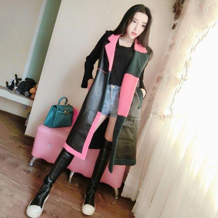 秋季新款韓版時尚撞色仿羊羔毛抓絨寬鬆顯瘦中長款PU皮馬甲外套女