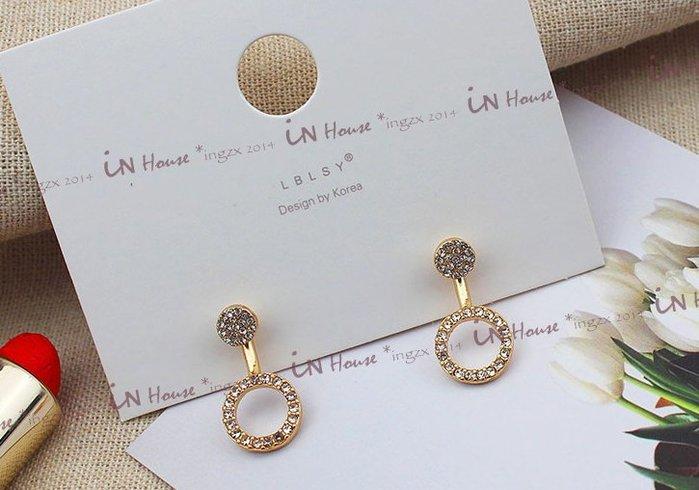 IN House* 日韓 幾何 鑲鑽 金色 前後釦 兩用 造型 圓型 後戴式 耳環 耳釘 (限量 特價)