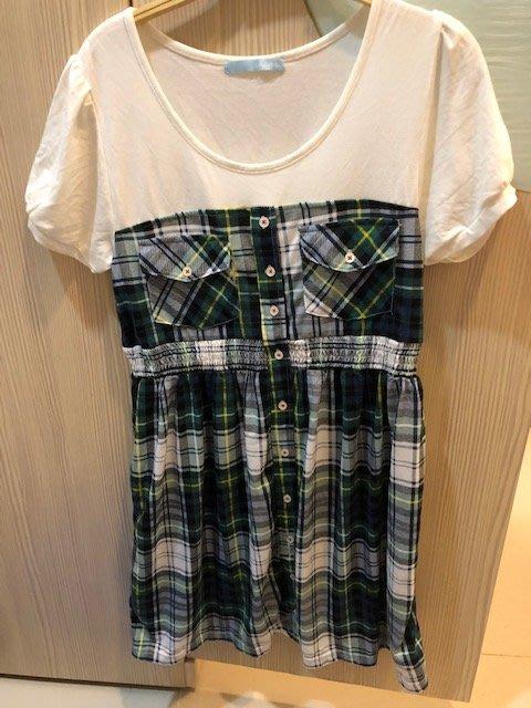小花別針、專櫃品牌【RAPA】拼接格子連身裙