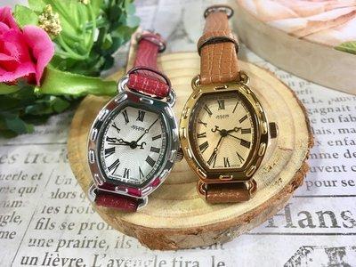 聚利時 JULIUS 小資女入門款復古羅馬刻度酒桶型皮革手錶-20x24mm / 二色任選 出清