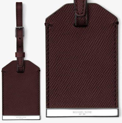 全新 Michael Kors Men MK酒紅色皮革製行李吊牌子彈級金屬 ,附原廠禮盒,低價起標無底價!本商品免運費!