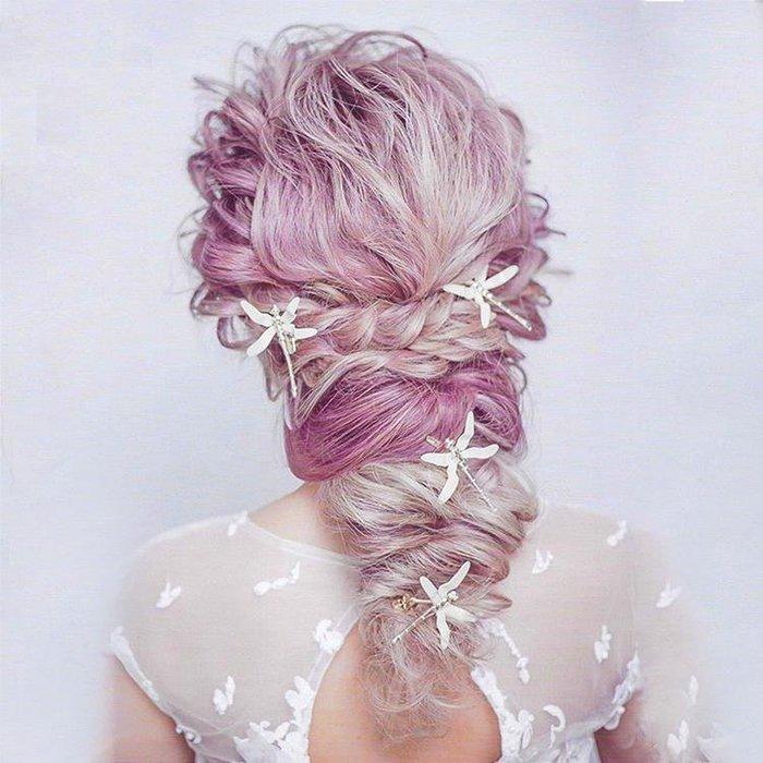 新娘飾品瑪姬主義-  F007立體蜻蜓髮夾--新娘秘書新秘用品婚禮配飾專賣--