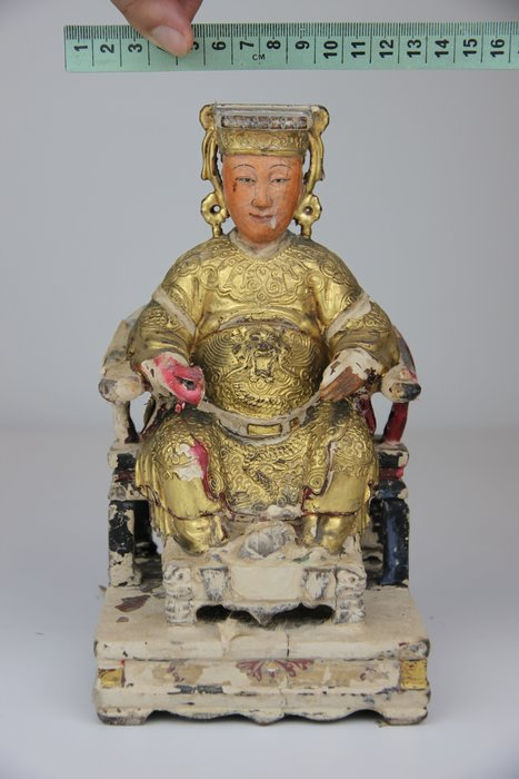 1124-回饋社會-特價品-糊紙老木雕(日據期或更早)媽祖-原色老神像-珍貴宗教歷史研究-收藏品(郵寄免運費)
