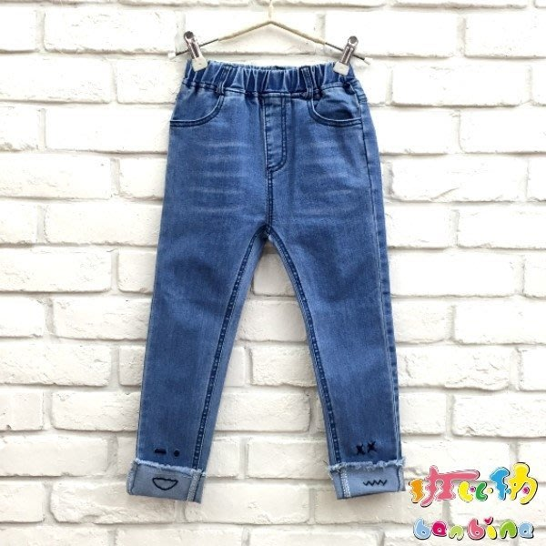 【班比納精品童裝】彈力修身窄管褲腳表情牛仔褲-藍【BD18111208】
