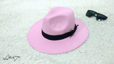 粉紅色可調寬沿紳士帽 Wide brim hat 歐美 百搭 古著 復古 少女 寬沿 大帽簷【LtLf】