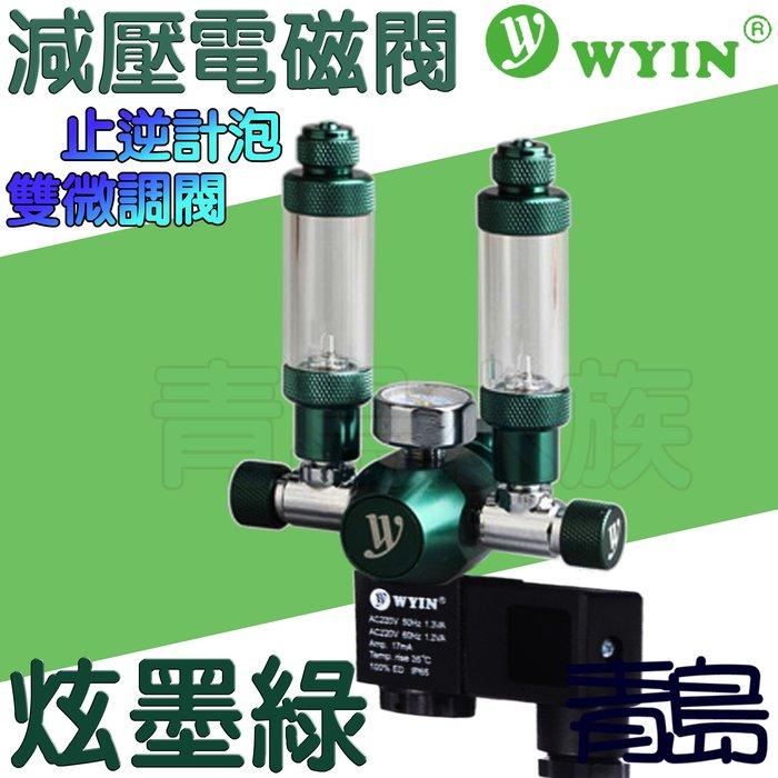 Y。。。青島水族。。。W01-06中國WYIN萬引----CO2減壓型單錶電磁閥/止逆計泡器/雙微調閥/側路式==炫墨綠