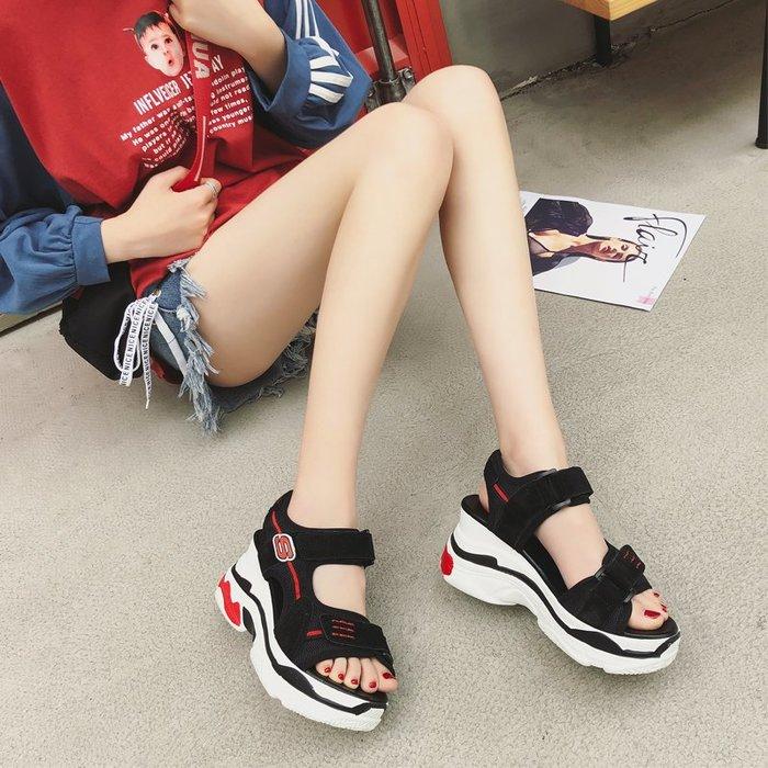 Fashion*真皮休閒運動坡跟涼鞋 夏季時尚高跟拼色松糕底魔術貼涼鞋潮