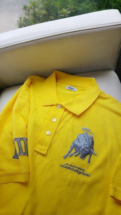 bellavita 購買 lamborghini藍寶堅尼銀色漸層刺繡公牛黃色短袖POLO衫