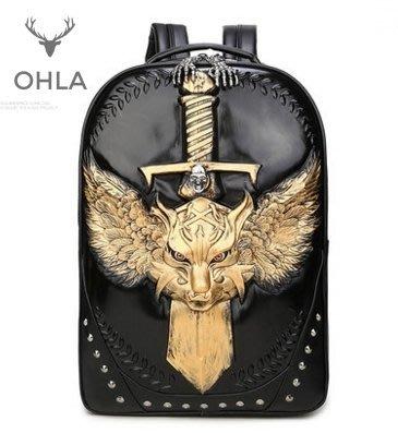 歐美個性風金色銀色黑色立體王者寶劍造型後背包通勤書包電腦包旅行包禮物