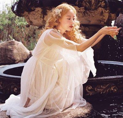 美女油畫裙toffee原創復古森系白色仙氣真絲希臘油畫女神飄逸連衣裙