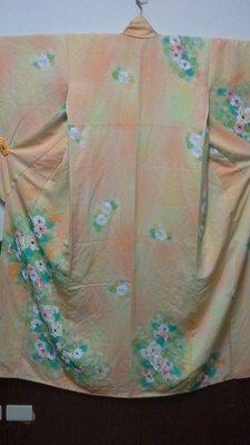 [兔尾屋  和服專賣]小紋 黄橘色系花卉圖案