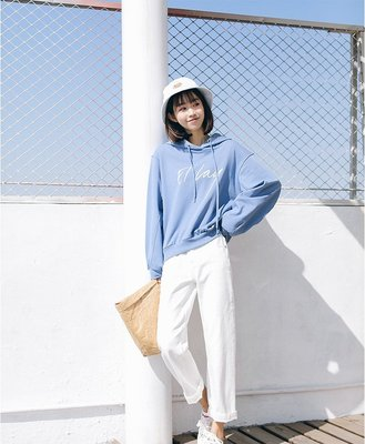 Color Fashion秋季韓版女裝寬鬆顯瘦抽繩連帽字母印花連帽T恤 G825133正韓女裝女衣T恤