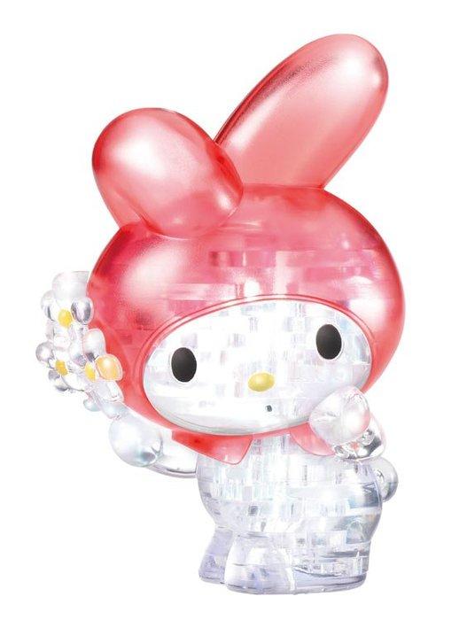 日本進口拼圖 MELODY 美樂蒂 三麗鷗 38片3D立體塑膠透明水晶拼圖 7641