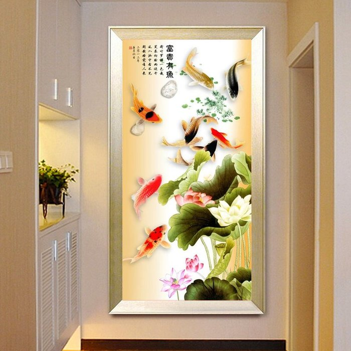 蒙娜麗莎 十字繡 客廳線繡簡約小幅玄關豎版過道花開富貴九魚圖 鑽石畫