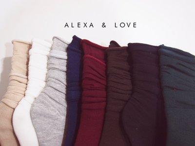 Alexa&Love_韓國百搭多色中筒素面反摺堆堆襪(特)