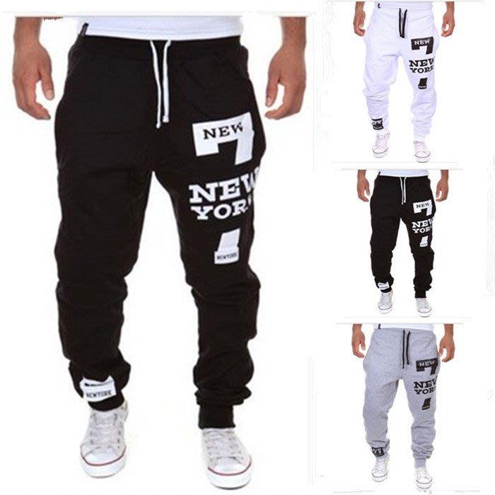 『潮范』  N4 外貿熱銷休閒運動褲 NEWYORK字母印花設計時尚休閒長褲 小腳褲 鉛筆褲